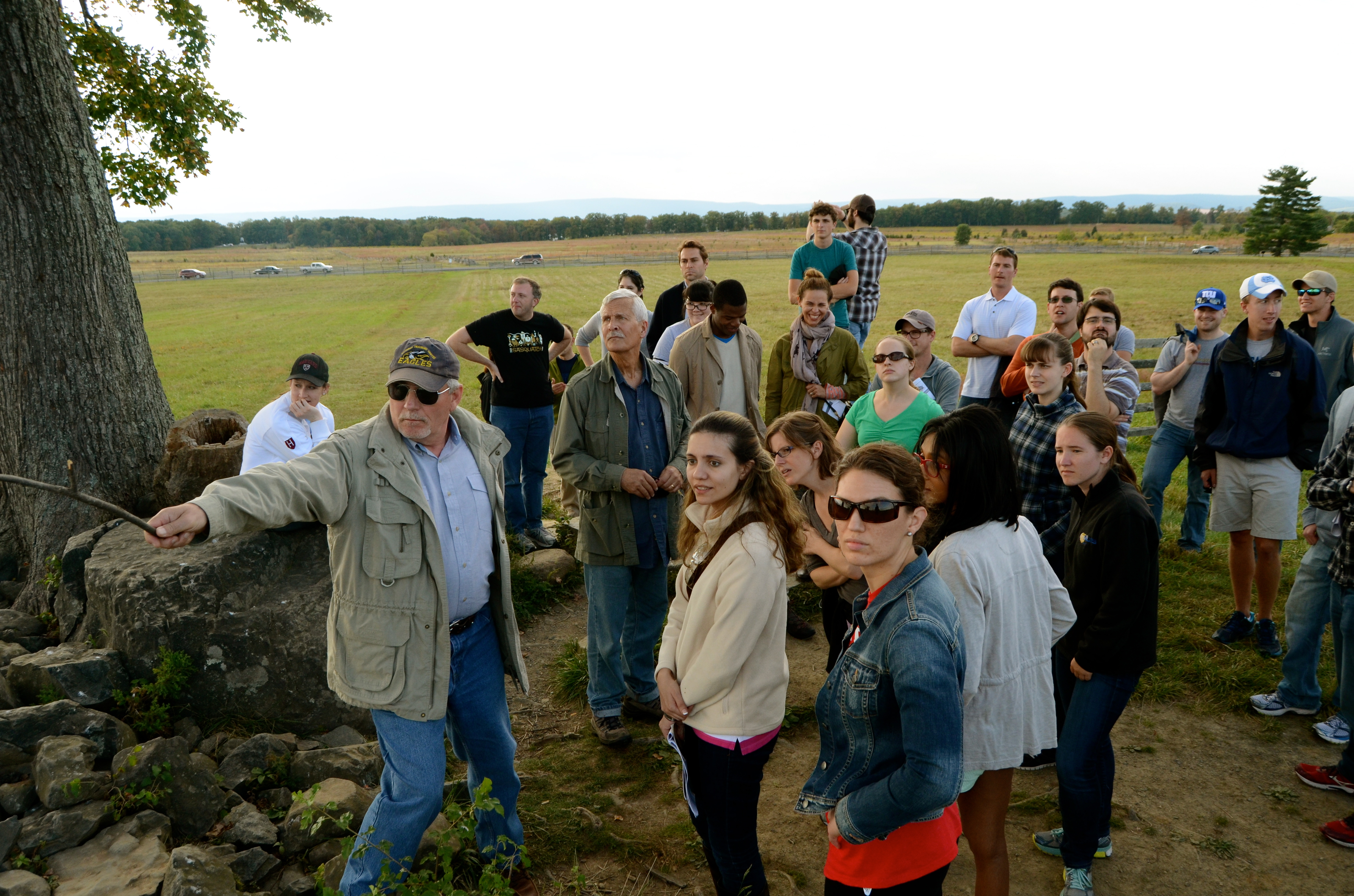 Students and faculty on a trip to Gettysburg