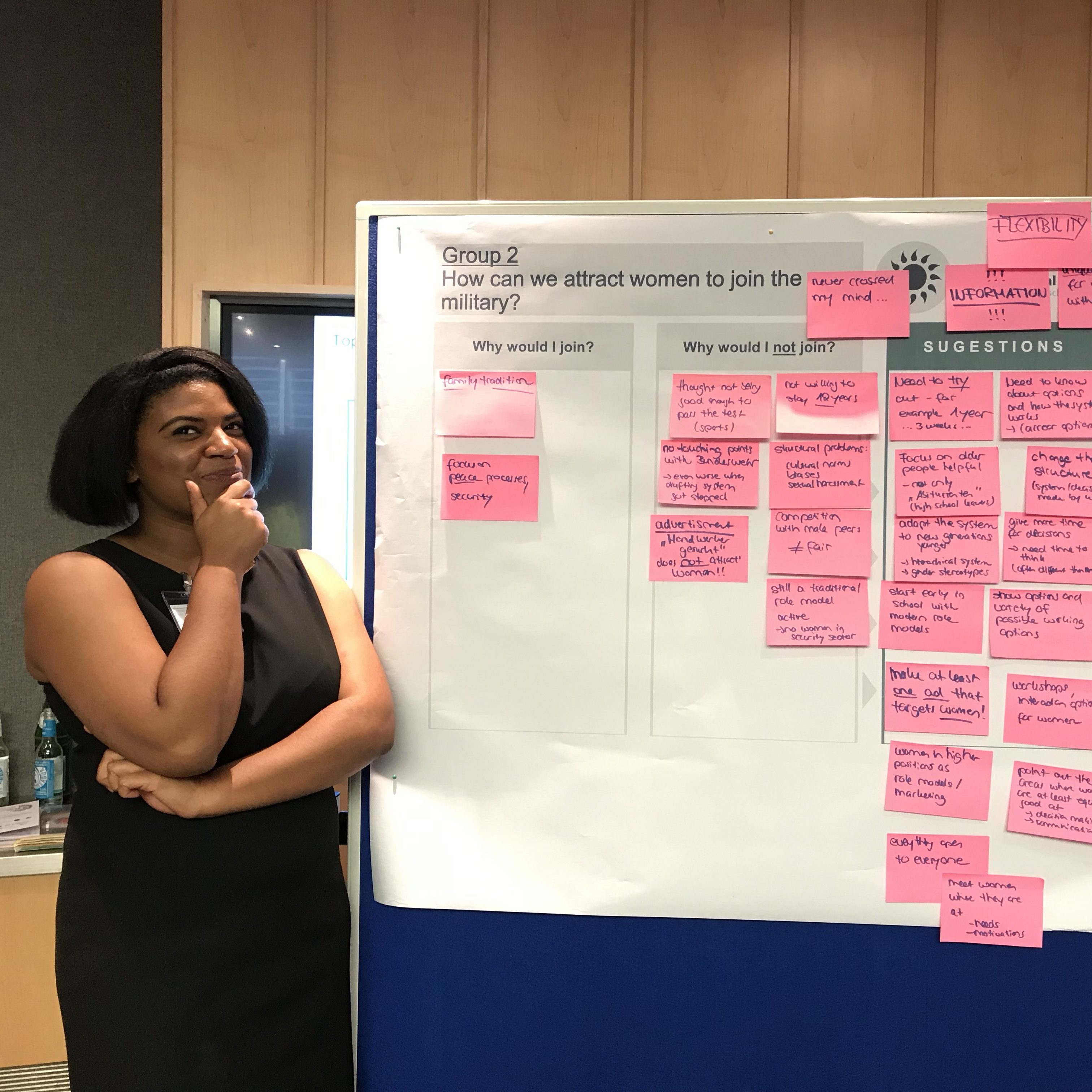 Meg McGee with a brainstorming board at a conference in Berlin