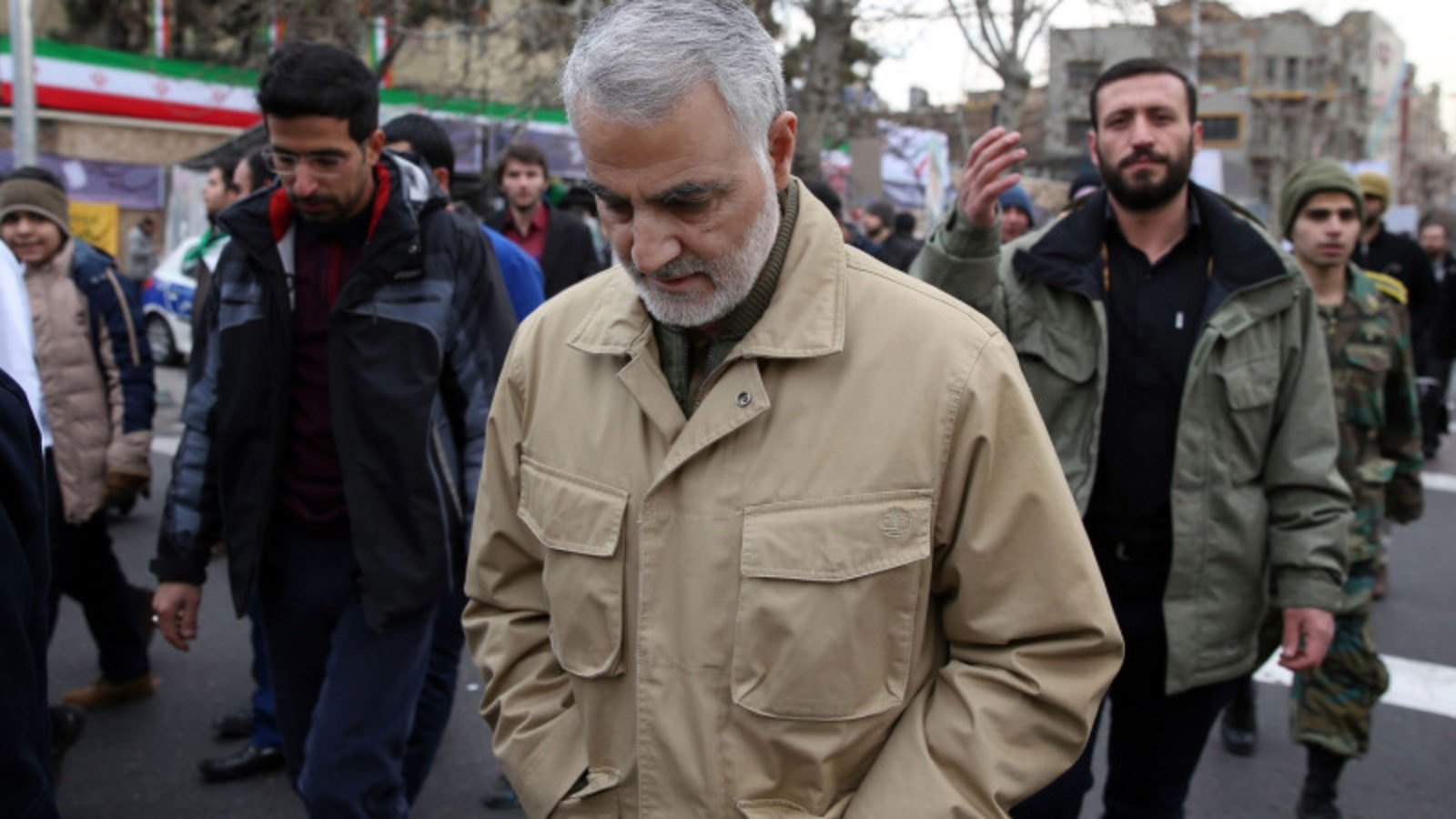 Qassem Suleimani, center, attends celebrations marking the 37th anniversary of the Islamic revolution in Tehran.