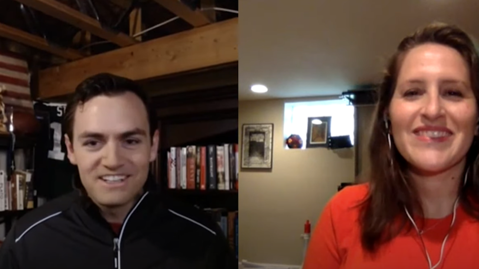 Side-by-side images of Mike Gallagher and Oriana Mastro on a video call