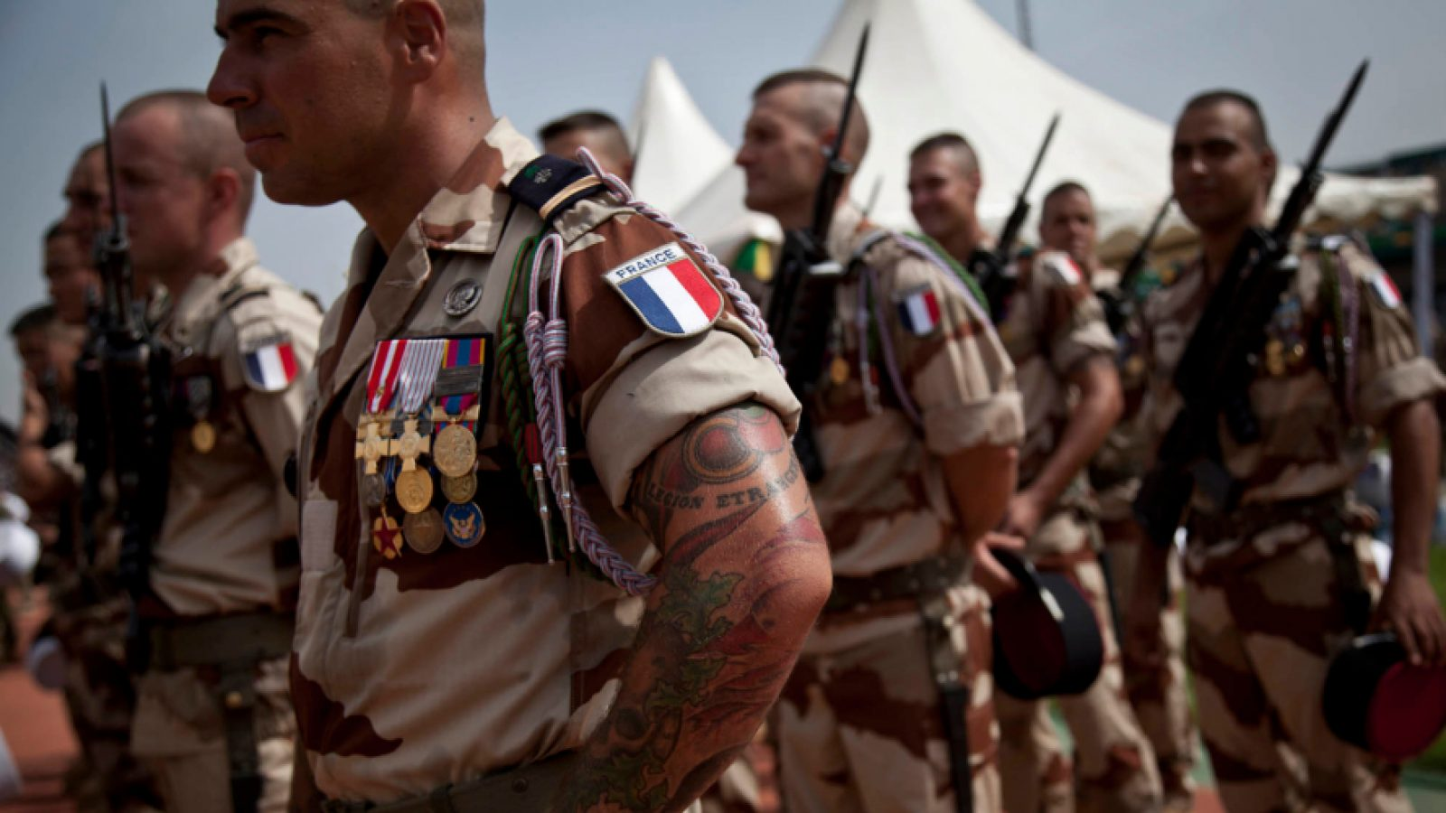 French soldiers attend the inauguration of Ibrahim Boubacar Keita as the president of Mali