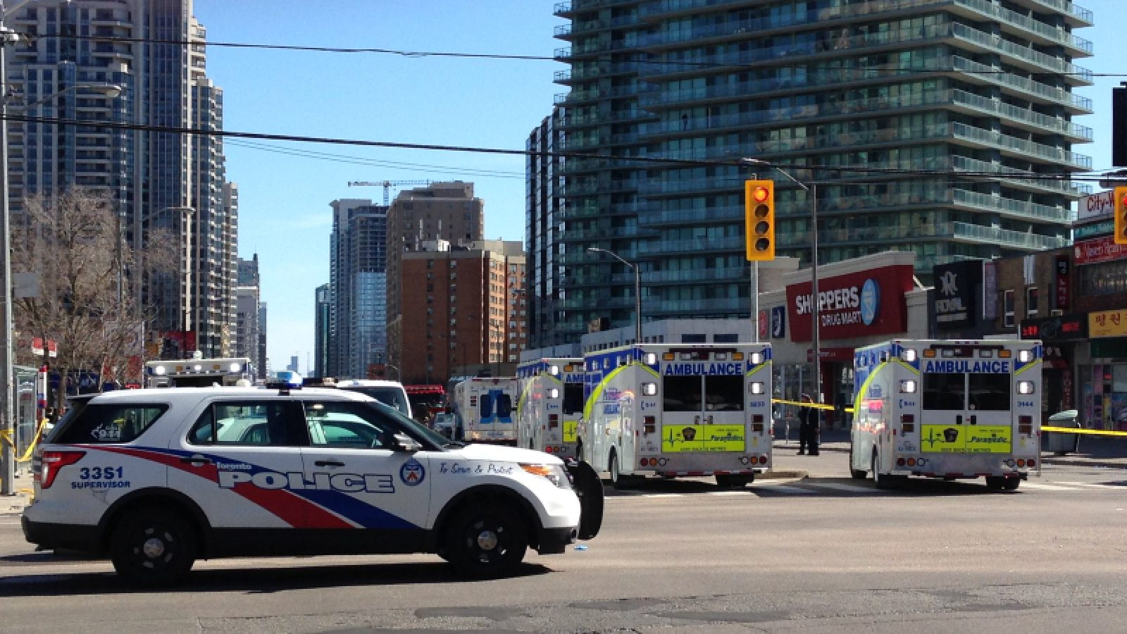 Police and paramedics respond to a truck ramming attack in Toronto, Canada