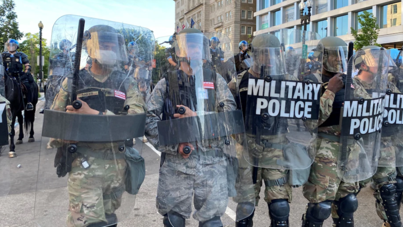 National Guard military police block a street near the White House on June 1 as military forces deployed to the streets of the nation's capital increases. (Andy Sullivan/Reuters)