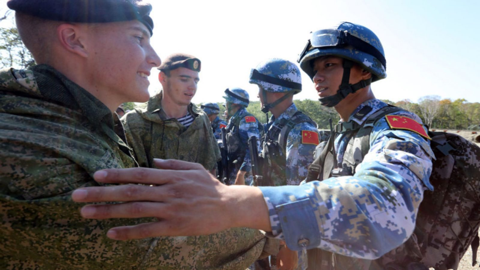 Chinese and Russian Marines meet during during a training exercise