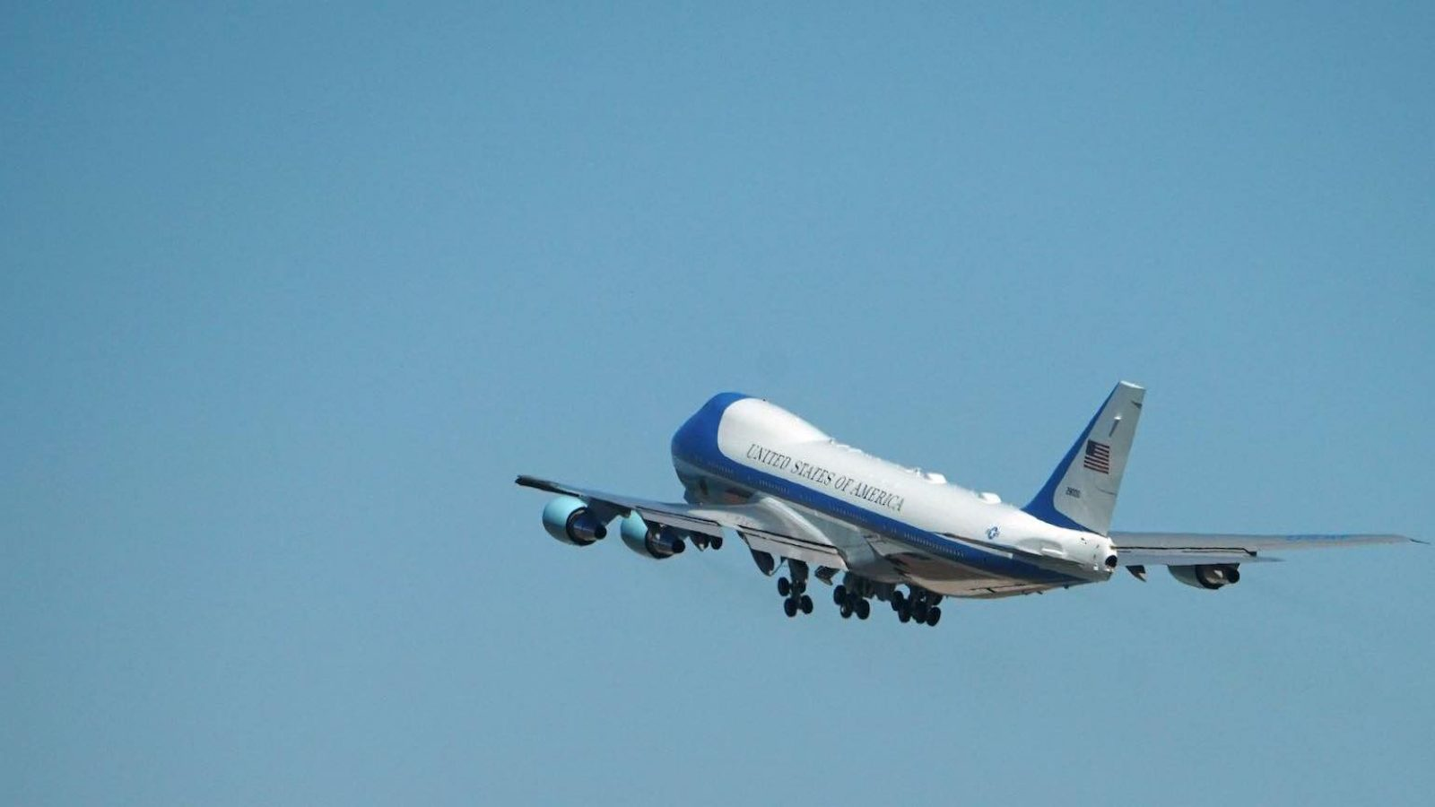 Air Force One takes off on a clear day