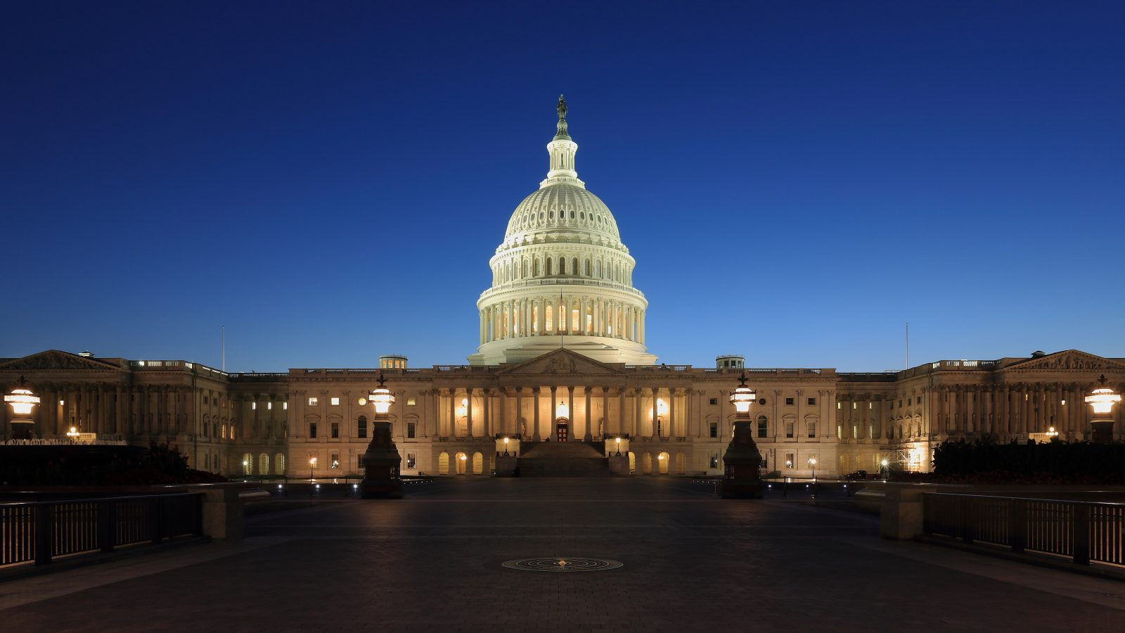 The United States Capitol building at dusk