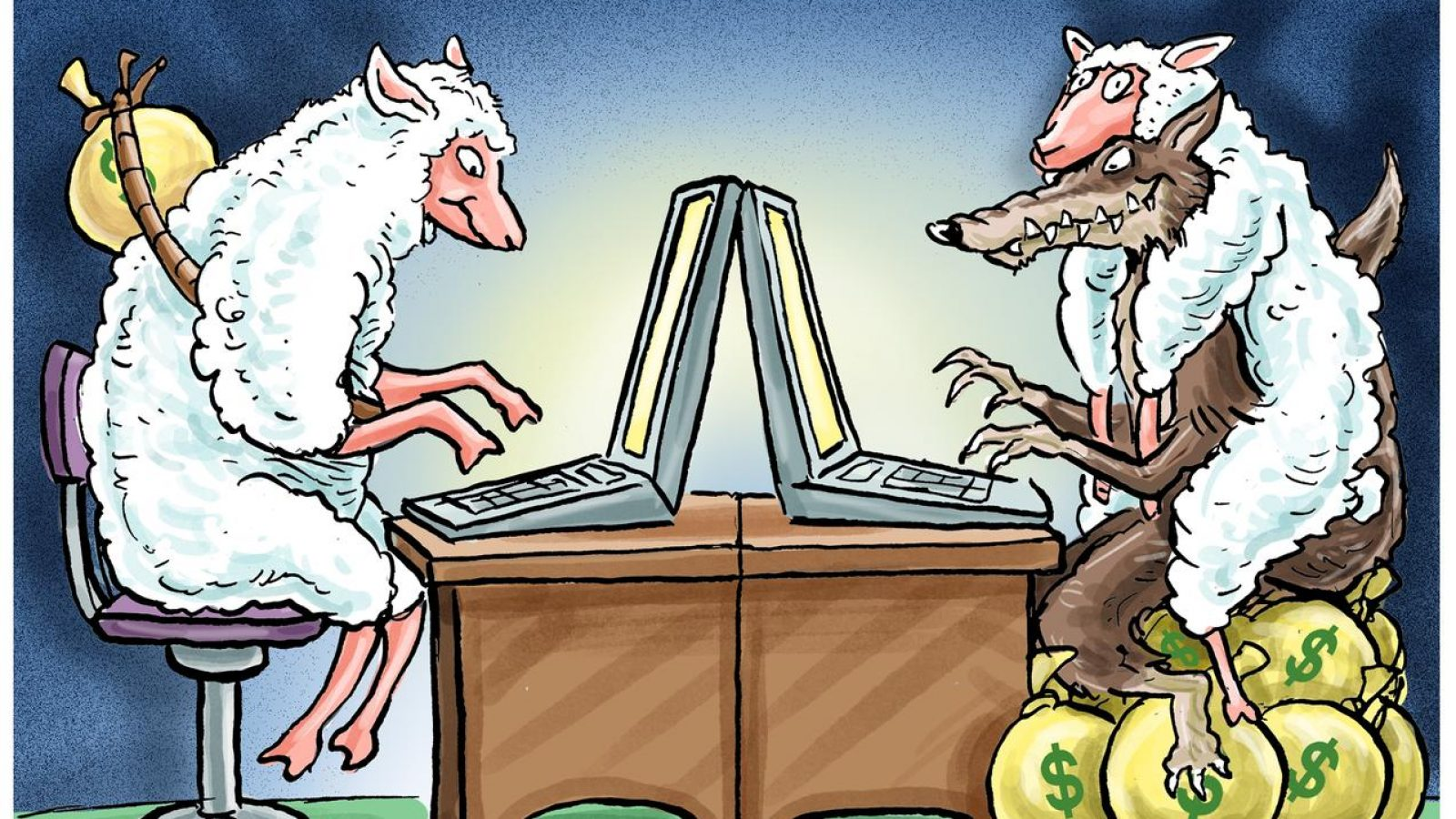 A cartoon drawing shows a sheep with a sack of money on its back typing at a computer, facing a wolf in a sheep's covering, also typing at a computer and sitting on top of a large pile of sacks of money.