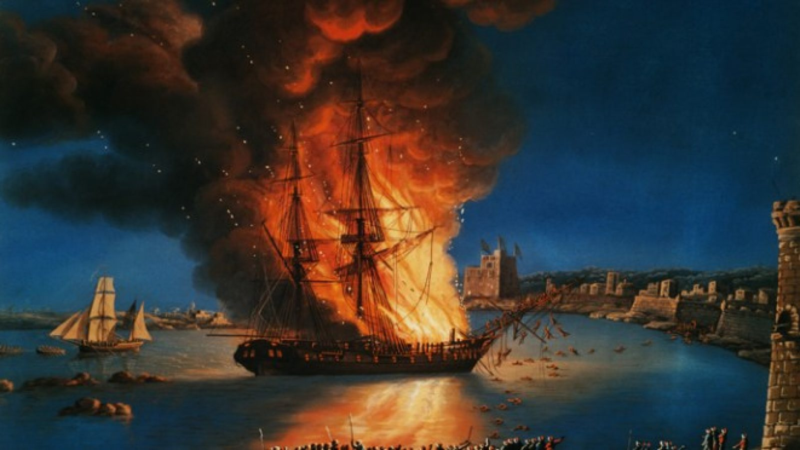 A painting of the USS Philadelphia burning in a harbor