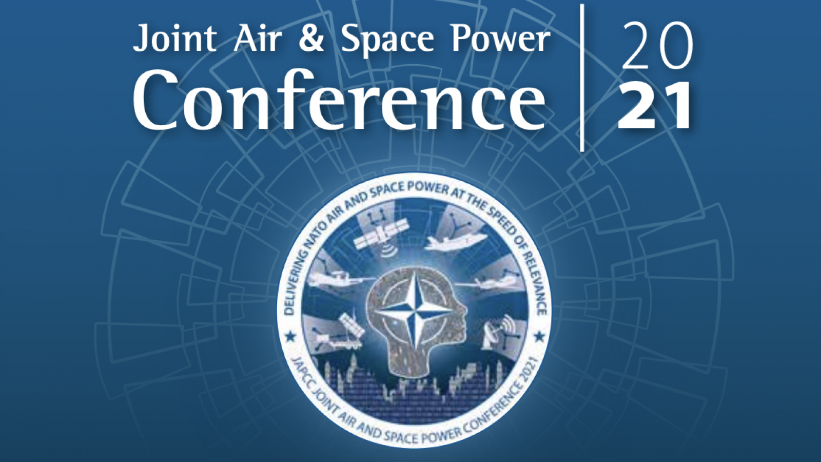Cover of the Joint Air and Space Power Conference 2021, in blue and white, with a NATO JAPCC seal in the center