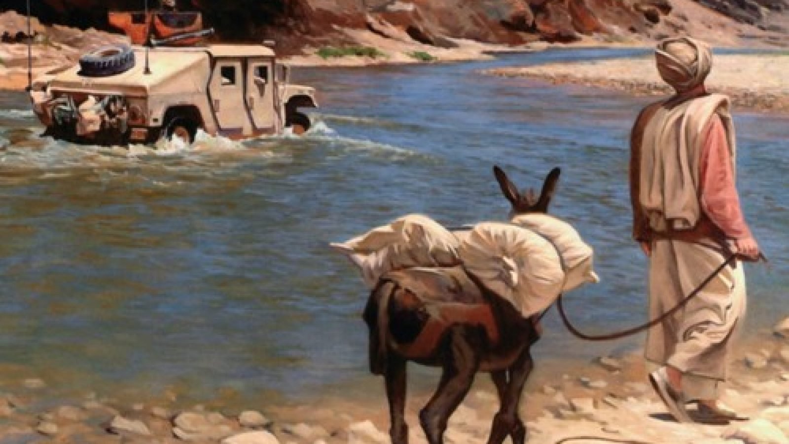 Logo of the Small Wars Journal depicting a painted scene of a man leading a donkey in the foreground, with an amphibious military vehicle driving through a stream in the background