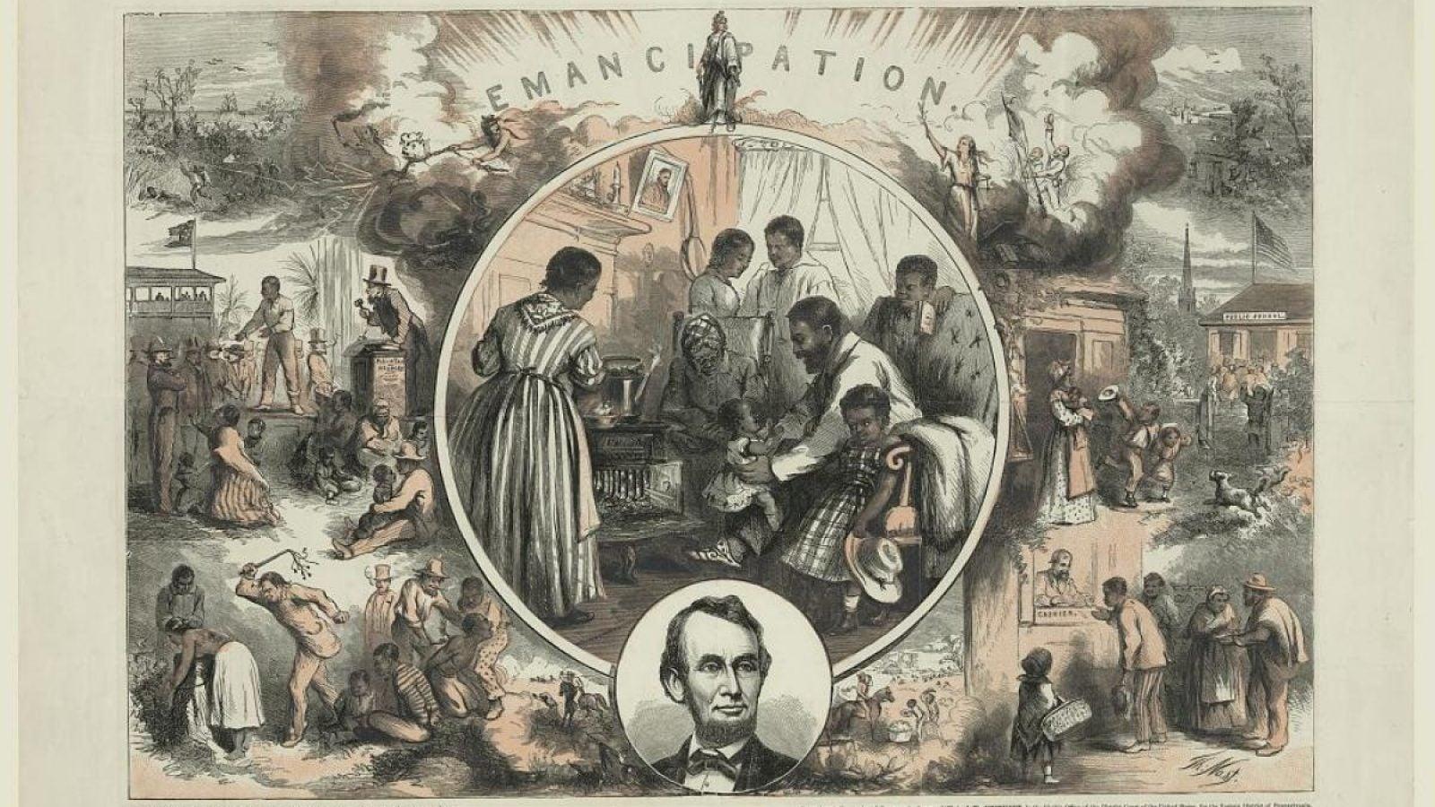 A vintage print of Civil War scenes and formerly enslaved people